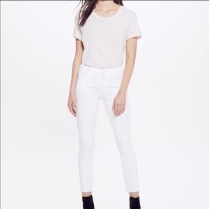 "Mother ""the looker"" cropped white skinny jeans"